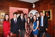 Blyth Scholars with Sam Blyth (far right) and Helen Pennant, Director of the Cambridge Trust (far left)