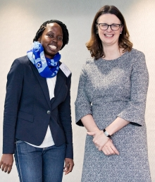 Josephine Tumwesige with Helen Pennant, Director of the Cambridge Trust, at the Trust's Welcome Event for new scholars in October 2017