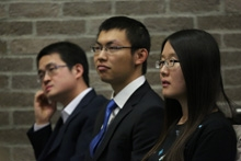 CSC scholar speakers<br />(L-R Mr Guohua Hu, Mr Xiang Cheng, Miss Jinglin Kong)
